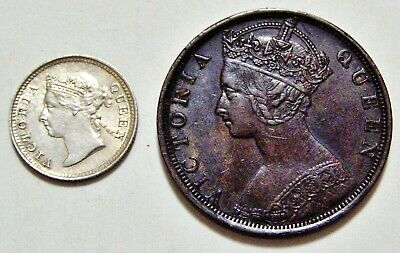 HONG KONG Pair Coins -  1891 Silver 5 Cents   &  1901 One Cent Bronze