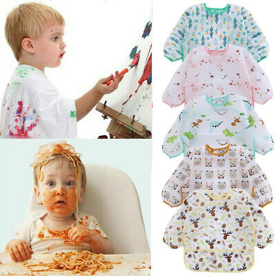 Waterproof Baby Kids Toddler Cartoon Long Sleeve Art Feeding Bib Apron Pocket