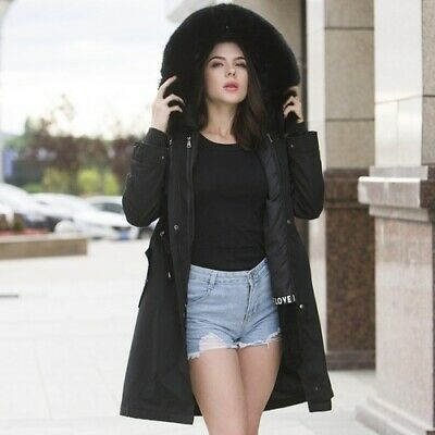 Women Real Fur Hooded Jacket with Natural Lined Winter Jacket Waterproof Coat