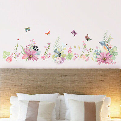 Removable Wall Flower Butterfly Stickers Wardrobe Bedroom Home Art Decals Elegan