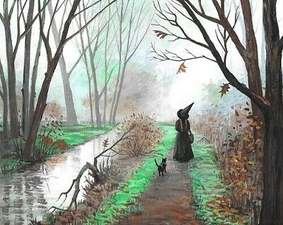 5x7 PRINT OF PAINTING RYTA HALLOWEEN PRIMITIVE SIGN BLACK CAT HAUNTED WITCH art