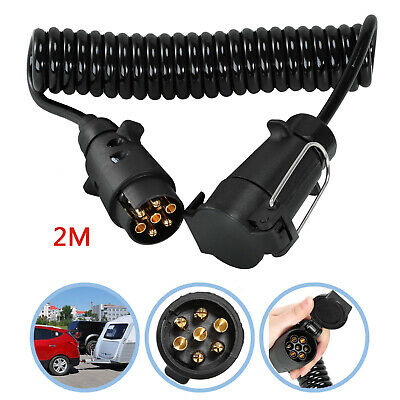2M Trailer Light Board Extension Cable Lead 7 Pin Plug Socket Caravn Towing Wire