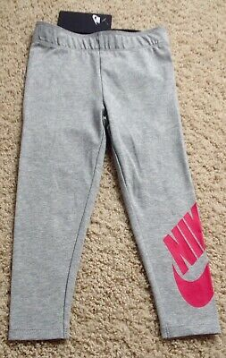 NWT NIKE Kid Girl Size 4 Gray Rush Pink Athletic Leggings Spandex NEW