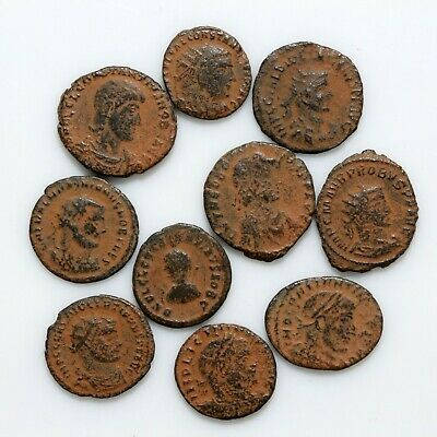 Top Lot Of 10 Roman Bronze Coins Circa 250-350 Ad