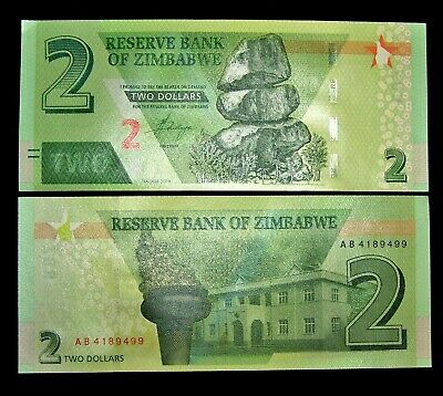 1 x ZIMBABWE 2 DOLLARS 2019 HYBRID P NEW UNC BANKNOTE/CURRENCY