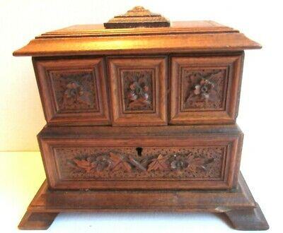 Wood Sculpture Black Forest, jewelry box, 3 compartments, cabinet Napoléon III