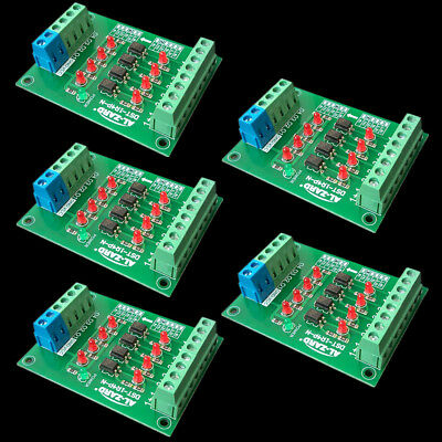5Pcs 4Bit Optocoupler Isolator 24V to 3.3V PLC Signal Converter Board