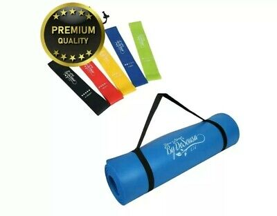 Black Includes FREE Carry Strap And Bag For Loop Bands Fitness By De Sousa Yoga Mat and FREE Resistance Band Set Large 1cm Thick