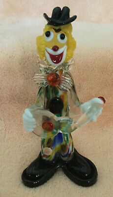 "Murano 9"" Glass Clown with Guitar Multicolored Glass Made In Italy"