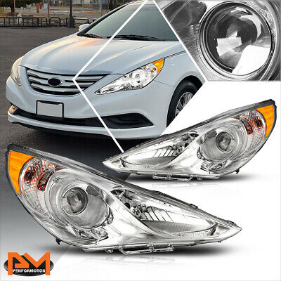 For 11-14 Hyundai Sonata Projector Headlight OE Replacement Amber Corner Chrome