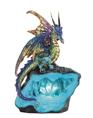 Purple and Green Dragon on Stone with LED Light up Crystals Fantasy Figurine New
