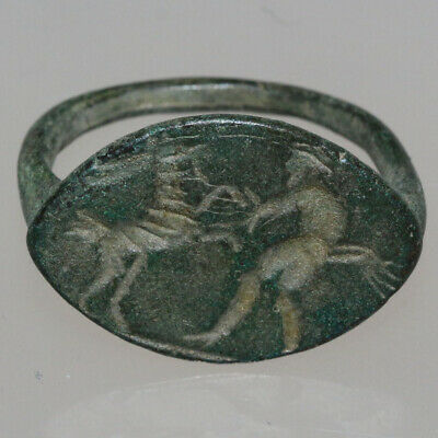 Scarce-Circa 500-300 Bc Ancient Greek Bronze Seal Ring