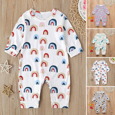 Newborn Infant Baby Cotton Jumpsuit Long Sleeve Overall Pants Printed Rompers