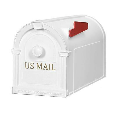 White Post-Mount Mailbox Decorative Plastic Home Residential Front T1 Large Flag