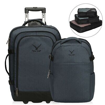 2-in-1 Convertible Travel Backpack Wheeled Carry On Rolling Luggage Packing Cube