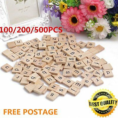 100-500Pcs Wooden Alphabet Scrabble Tiles Black Letters Numbers For Crafts yL
