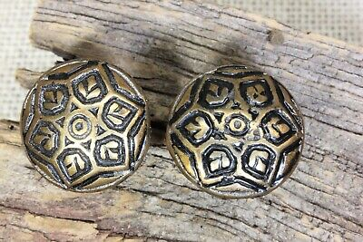 "2 old Drawer pulls 1"" 1890's shutter knobs vintage copper on cast iron snowflake"