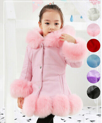 Kid Girls Padded Faux Fur Leather Hooded Down Jacket Winter Coat Puffer Overcoat