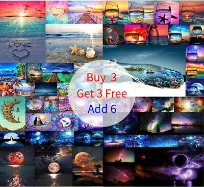 DIY 5D Full Diamond Embroidery Painting Cottage Forest Landscapes Seascapes Hot