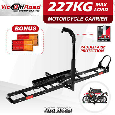 "SAN HIMA Motorcycle Carrier Rack 2"" Towbar Arm Rack Dirt Bike Ramp W/Light"