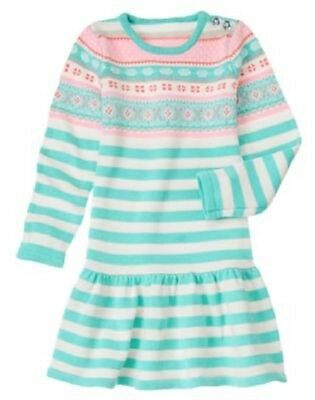 GYMBOREE SNOWFLAKE GLAMOUR BLUE STRIPED SWEATER DRESS 12 18 24 4T NWT