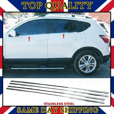 Fits for Nissan Qashqai Chrome Windows Frame Trim 4 pcs S.STEEL 2006-2013