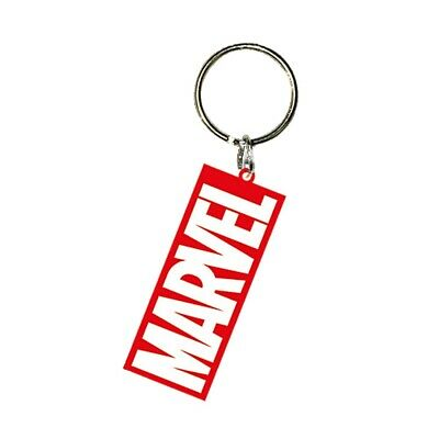 Genuine Marvel Comics Logo Rubber Keyring Key Fob Keychain Red and White