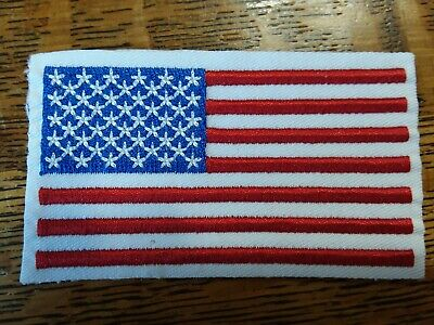 5 American Flag Appliques self-adhesive sew or iron-on embroidered white border