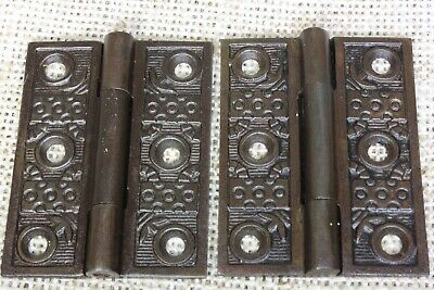 "2 old Hinges door Interior shutter vintage Windsor 2 1/4 x 1 3/4"" rustic iron"