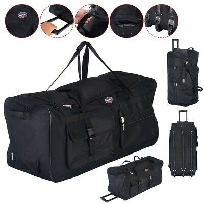 "36"" Rolling Wheeled Tote Duffle Bag Travel Suitcase Retractable Handle Zipper"