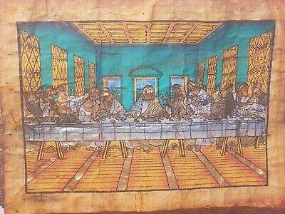 Rare Antique christian Egyptian Papyrus jesus eating with followers 18AD