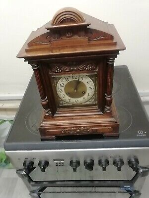 Antique Junghans Carved walnut bracket clock