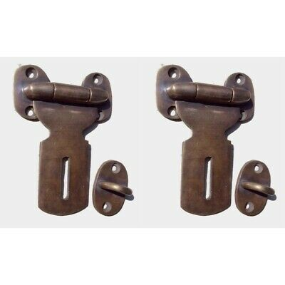 "2 Small catch hasp latch old style house BOX antiques heavy 3"" solid brass"
