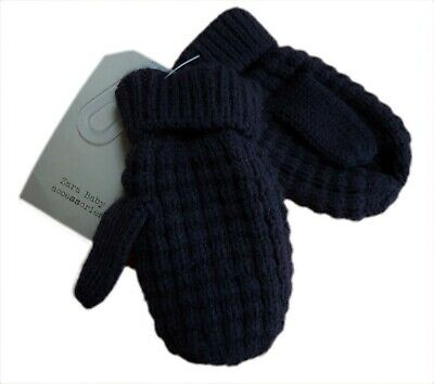 ZARA Baby Mittens Boys Winter Gloves Navy Waffle Knit Knitted Dapper 2-4 y £6.99