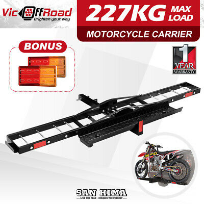 "SAN HIMA Motorcycle Carrier Motorbike Rack Dirt Bike Ramp 2"" Towbar Brake Lights"