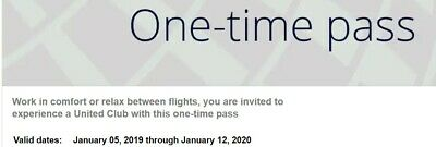 United Club Passes One Time  Two (2)  EXP January 12, 2020 CHASE E-delivery only