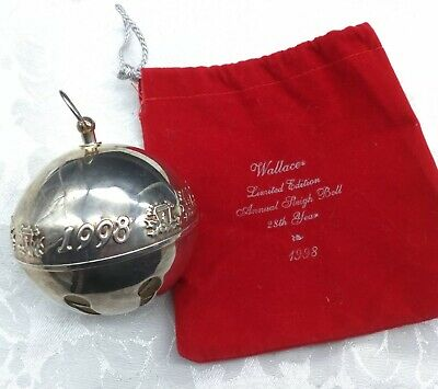 Wallace Silversmith 2021 Annual Christmas Ornament Bells Wallace Silversmiths Christmas Sleigh Bell Ornament 1977 7th Annual W Box Collectibles