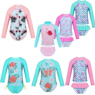 Baby Girls Long Sleeves Printed Swimsuit Swimwear Rash Guard Bathing Suit Outfit