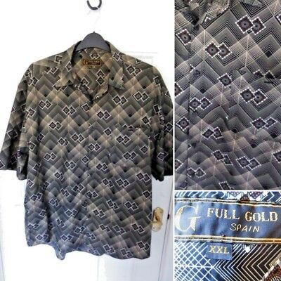 "FULL GOLD SPAIN Size XXL Mens Black Brown Retro Print Shirt Festival 48"" Chest"
