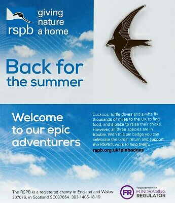 RSPB Pin Badge | Back For The Summer swift (01448)