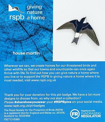 RSPB Pin Badge | house martin  GNAH BLUE (01512)
