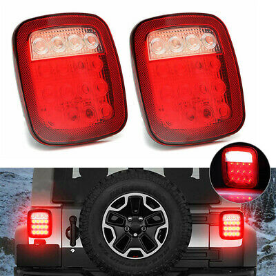 2x Square Stop Turn Tail Backup 16 Led Marker Light For