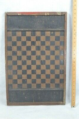 antique game board checkers chess 25 x 15 primitive painted wood 19th c 1800s