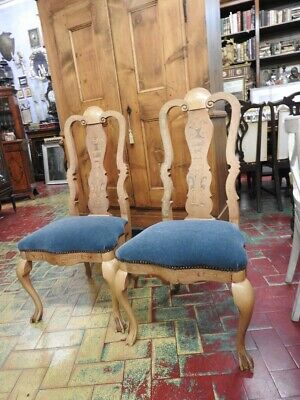 Ancient Armchairs Chairs Netherlands Finely Inlaid Period XIX Century
