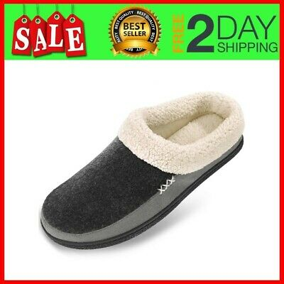 Men's Wool Plush Fleece Slip On Memory Foam Clog House Slippers Size 13-14