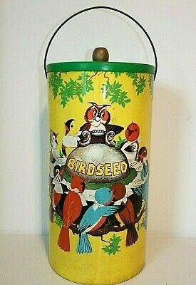 Rare Vintage BIRDSEED HOLDER Pail Can w/Lid & Handle Tin Litho Graphics CHEIN Co