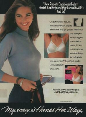 1990 Hanes Her Way Bras Vintage PRINT AD Page Cute Girl Sweater Lingerie Advert