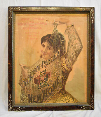 Old Vtg Framed NEW HOME Treadle SEWING MACHINE Advertising SIGN Victorian