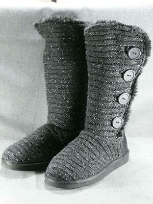Muk Luks Knitted Button Boots Slip On  Tall Foldover  Sz9  Black Gray Knit New