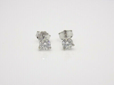 14k White Gold .40 Carat SI1 Clarity H Color Round Martini Diamond Stud Earring